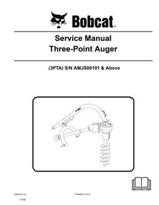New Bobcat Three Point Auger Repair Service Manual 3pta 6989534