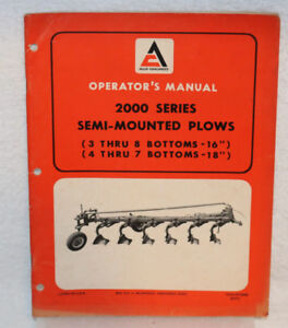Allis chalmers 2000 Series Semi mounted Plows Operator s Manual
