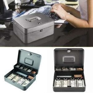 Tiered Safe Cash Box Gray With Money Bill Tray And Key Lock For Adults Bills