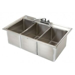 3 Compartment Stainless Steel Drop In Bar Sink