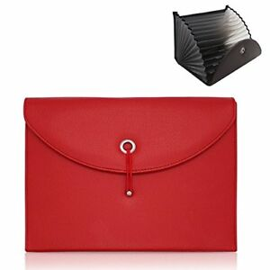 Document Organizer Folder Portable Expandable Pu Leather Accordion File Red New