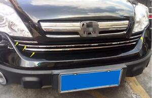 Stainless Chrome Front Grille Strip Cover Trim 4pcs For Honda Crv 2007 2008 2011