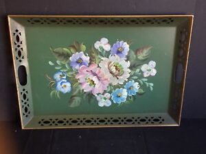 Antique Vintage Nashco Hand Painted Tole Tray C 1960s