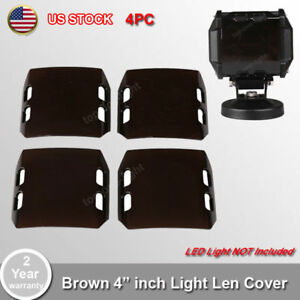 4x Snap On Brown Lens Cover For 4 Inch 18w Led Work Light Bar Off Road Atv 4x4