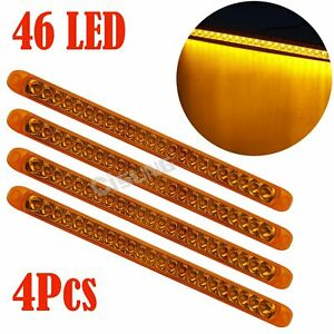4pcs Amber 17 46 Led Stop Turn Signal Clearance Truck Trailer Light Bar Surface