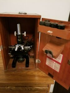 Antique Bausch Lomb Microscope 1951 Usa Made Wood Case And Key