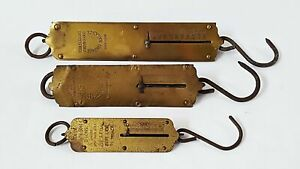 Antique Vintage Brass Hanging Spring Scales Chatillons Landers Set Of 3