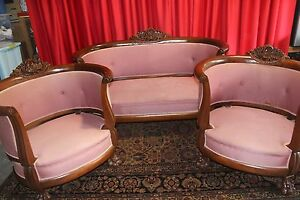 Antique Empire Roccoco Mahogany Sofa Two Chair Set 1830 S To 1850 S Nice