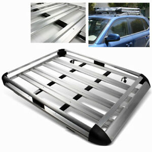 55 Silver Aluminum Car Suv Truck Travel Roof Luggage Carrier Rack Cargo Basket