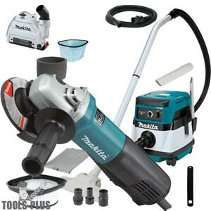 Makita 9564pc Sjs 4 1 2 Angle Grinder W hepa Vac Dust Collector Shroud New