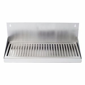 16 Hanging Door Mount Draft Beer Drip Tray No Drain Removable Grate Stainless