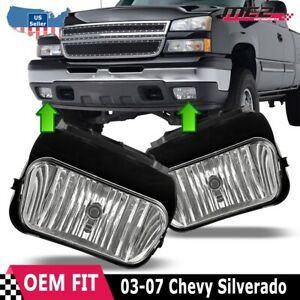 For Chevy Silverado 03 07 Factory Bumper Replacement Fit Fog Lights Clear Lens