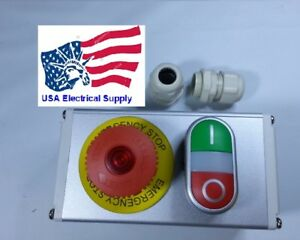 Metal Push Button Switch Station Emergency Start Stop light 12 24vac dc