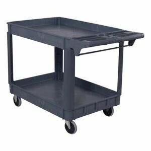 Plastic Utility Cart 2 Shelves Rolling Food Service Tools Wheels Sturdy Durable