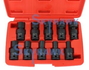 10 Pc Metric 1 2 Dr Universal Swivel Shallow Impact Socket Set