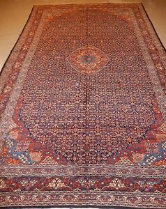 Antique Persian Bijar Rug Circa 1930s Lovely Large Carpet