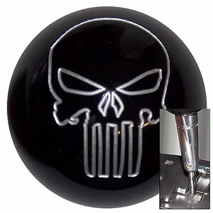 Black Silver Punisher Skull Shift Knob For Dodge Chrys Jeep Auto Stk W Adapter