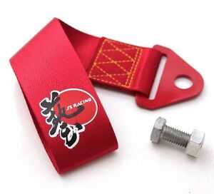 J S Racing Jdm Universal Tow Strap Tow Hook Ribbon Red