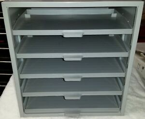 Hardware Parts Steel Stackable Storage Cabinet With 5 Slide Out Plastic Drawers