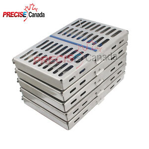 10 Surgical Dental Autoclave Sterilization Cassette Tray Box For 10 Instruments