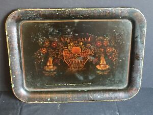 Antique Tole Painted Metal Serving Tray