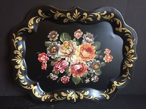 Antique Vintage Tole Painted Metal Serving Tray