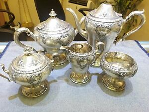 Vintage Hallmarked 5 Piece Sterling Silver Tea Pot Coffee China Set