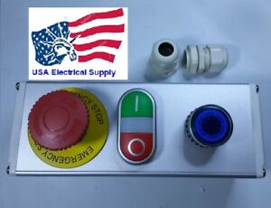 Emergency Stop Red Green Momentary Push Button Switch Station Blue Light 110 220
