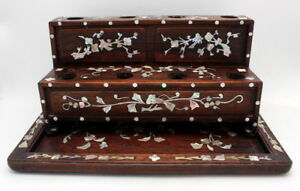 Fine Antique Chinese Rosewood Mother Of Pearl Inlay Opium Damper Stand