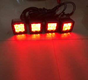 4x 24w Red White Dual Colors Led Work Light 3 Pods Strobe Warining Wiring Kit