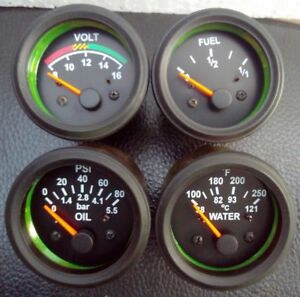 2 52mm Electrical Oil Pressure Bar Temperature Volt Fuel Gauge Black