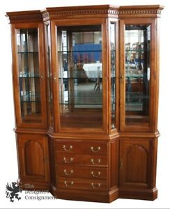 Harden Solid Cherry Breakfront 551 1 2 China Cabinet Chippendale Mirrored