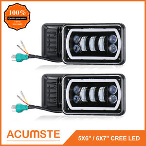Pair 4 X6 Rectangle Cree Led Headlights Sealed W Drl Amber Turn Signal Light