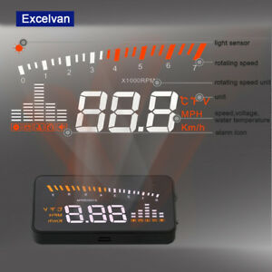 Car Hud Projector Head Up Display Speed Warning Fuel Obd2 Speedometer Windshield