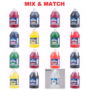 8 Pack Slushy Shaved Ice Snow Cone Syrup 1 Gallon Mix Match Flavors 20