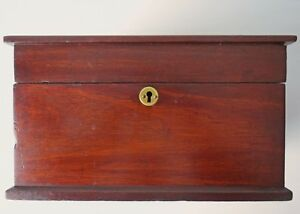 Antique Mahogany Document Box With Hinged Cover