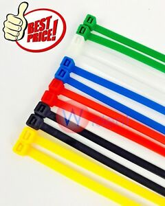 Colored 14 Inch Long 50 Pound Nylon Cable Ties Zip 100 500 1000 Pack
