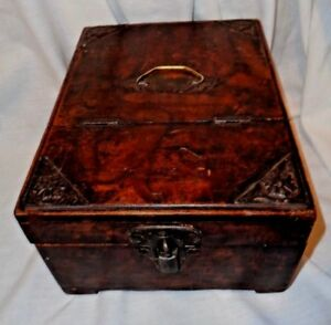 Antique Folding Wood Lid Document Box With Till Early 20th Century 9