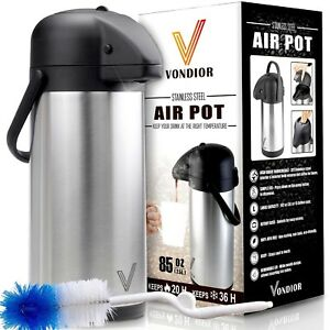 Thermal Coffee Airpot Beverage Dispenser 85oz stainless Steel By Vondior