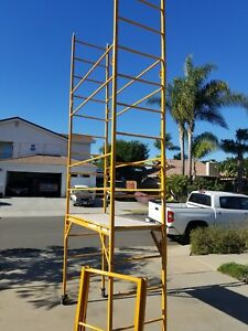 Perry 12 Foot Standing High Deck Scaffold Rolling Tower With Guard Rail