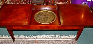 Antique Federal Sliding Top Inlaid Mahogany Coffee Table On Wheels Beautiful