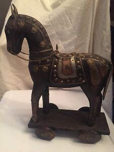 Rare Antique Statue Hand Carved Wooden Horse Copper Brass Armor Inlay