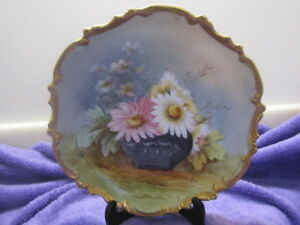 Antique Limoges Hand Painted Ldbc Wall Plate Charger Flambeo Flowers Signed May