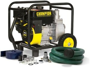 Champion 2 In Gas powered Semi trash Water Transfer Pump W hose And Wheel Kit