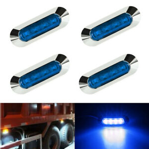 4x Blue 4 Led Clearance Side Marker Truck Trailer Van Lights 12v 24v Waterproof