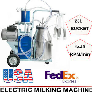 Electric Milking Machine Milker Cattle Bucket 25l Vacuum Piston Pump 64 min Fda
