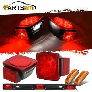Submersible Trailer Led Light Kit sq Stop Turn Tail red 9 Led Id Bar side Marker
