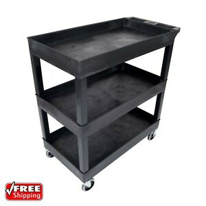 3 Tier 400 Lb Capacity Swivel Wheel Black Plastic Tub Shelf Service Utility Cart