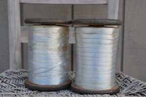 Lot Of 2 Industrial Factory Textile Wooden Spools With Original Ribbon