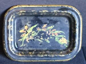 Antique Tole Painted Metal Tip Tray Made In England